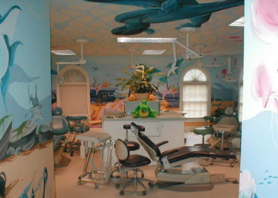 pediatric dental offices tend to be geared in a whimsical, fun and entertaining theme to help children feel welcome and comfortable.